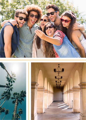 College students taking a selfie. Palm trees against a blue sky. A corridor at an old mission