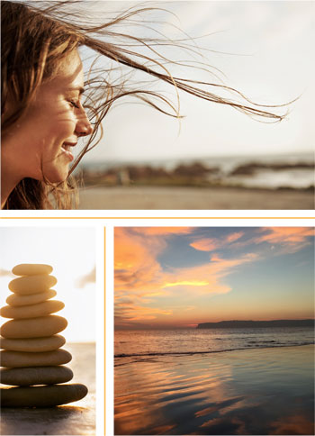 A woman's hair blowing in wind. Sunset showing Point Loma. A stack of rocks.